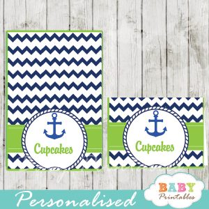 blue and green printable nautical personalized food label cards