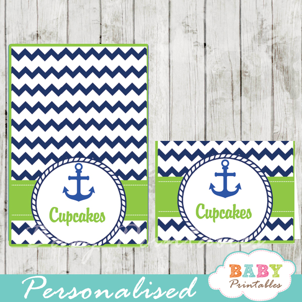 navy green nautical anchor baby shower food tent cards d195