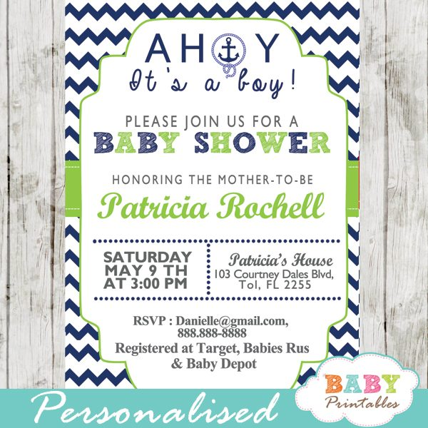 image relating to Baby Shower Printable called Army Eco-friendly Nautical Anchor Boy or girl Shower Invitation - D195