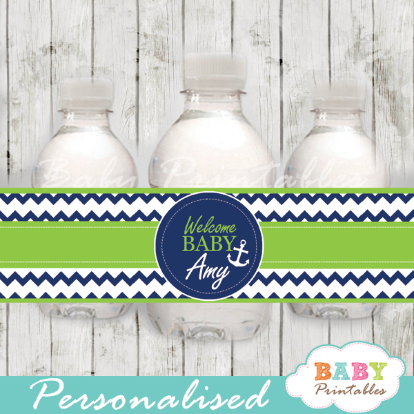 blue and green personalized nautical baby shower bottle wrappers diy