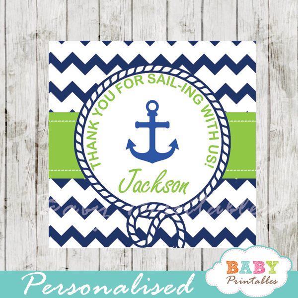 navy and green printable custom nautical helm baby shower favor tags