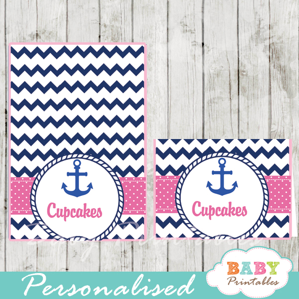 blue and pink printable nautical personalized food label cards