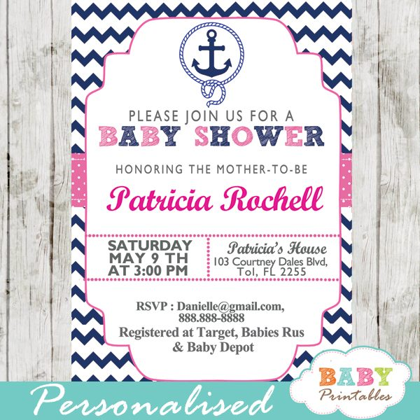 photo about Baby Shower Printable Invitations known as Army Purple Nautical Anchor Boy or girl Shower Invitation - D196