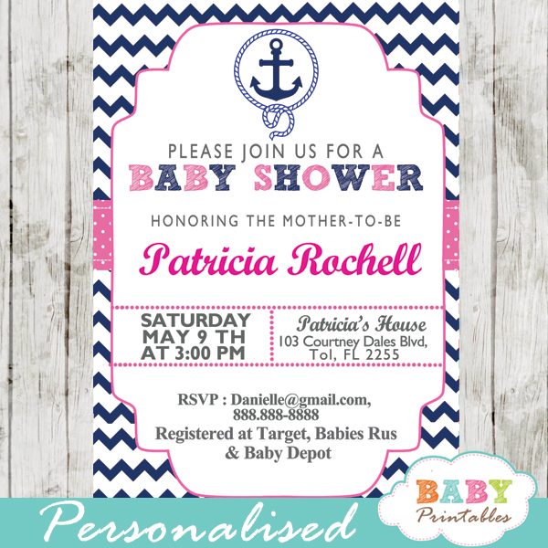 image relating to Nautical Baby Shower Invitations Printable named Military Purple Nautical Anchor Child Shower Invitation - D196