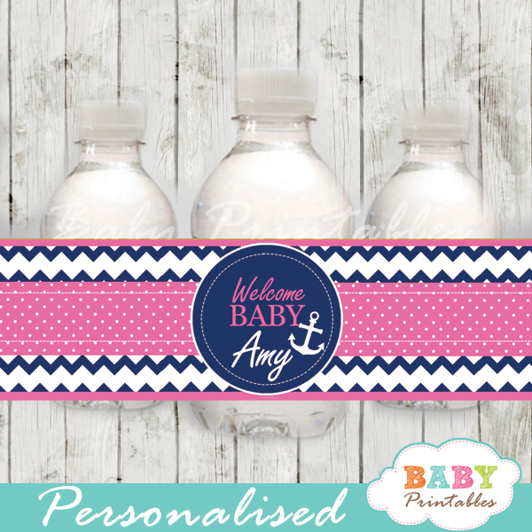 blue and pink personalized nautical baby shower bottle wrappers diy