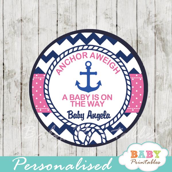 personalized navy and pink nautical anchor baby shower favor toppers