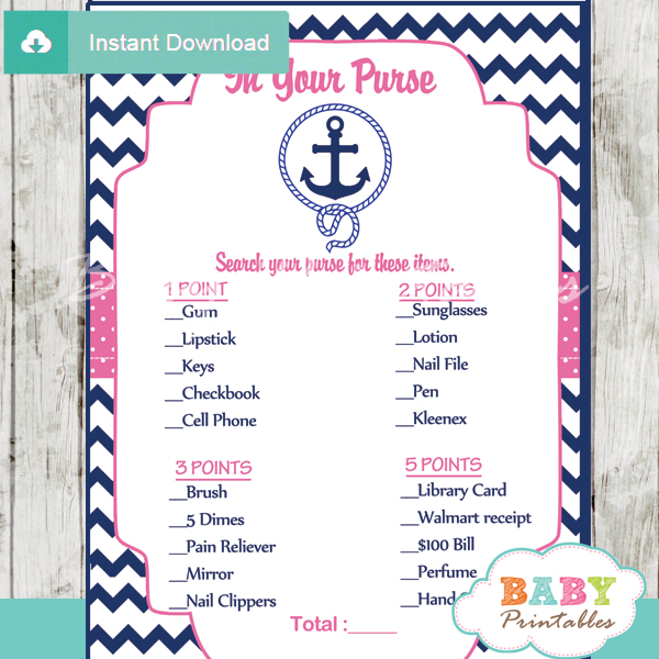 photograph regarding What's in Your Cell Phone Game Free Printable known as Armed service Red Nautical Anchor Boy or girl Shower Video games - D196 - Boy or girl