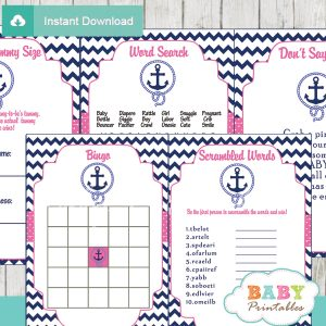 navy and pink printable nautical anchor baby shower games package