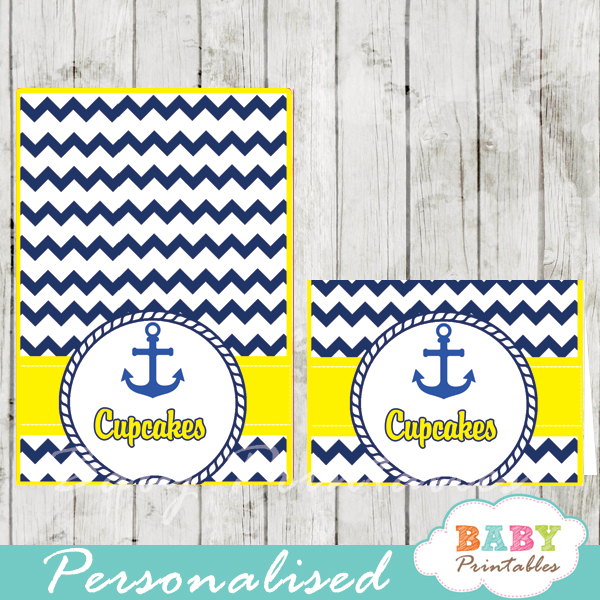 blue and yellow printable nautical personalized food label cards