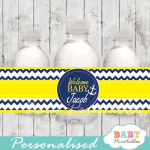 blue and yellow nautical personalized bottle wrappers diy