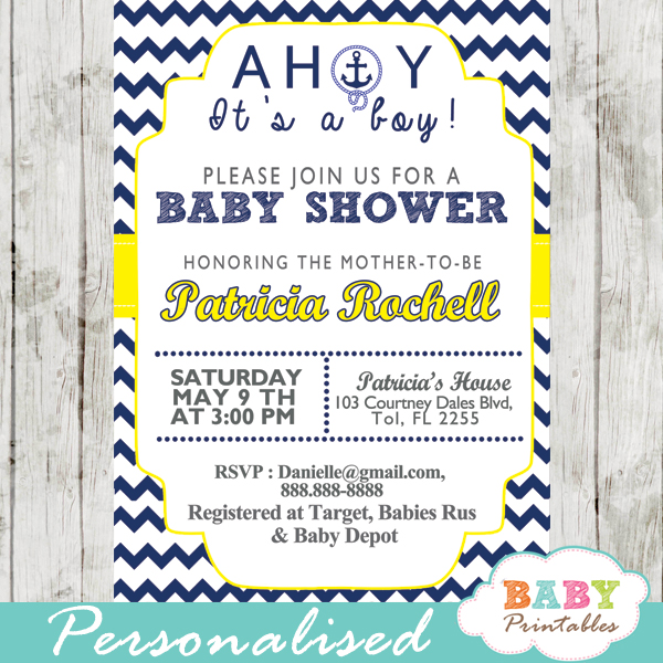 photograph regarding Nautical Baby Shower Invitations Printable called Army Yellow Nautical Anchor Boy or girl Shower Invitation - D197