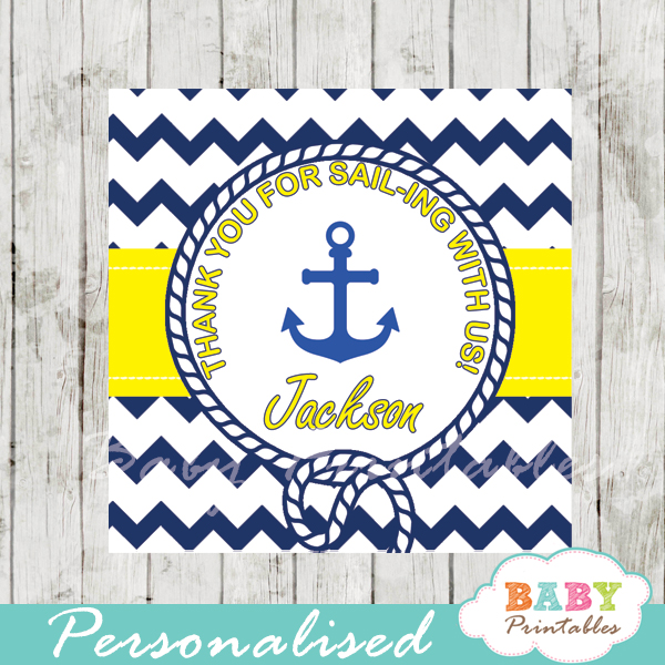 navy and yellow printable custom nautical anchor baby shower favor tags