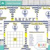navy and yellow printable nautical anchor baby shower games package