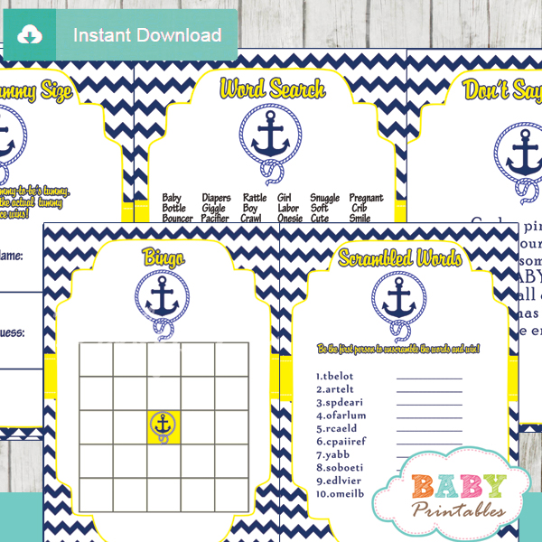 yellow nautical anchor baby shower games d197 baby printables