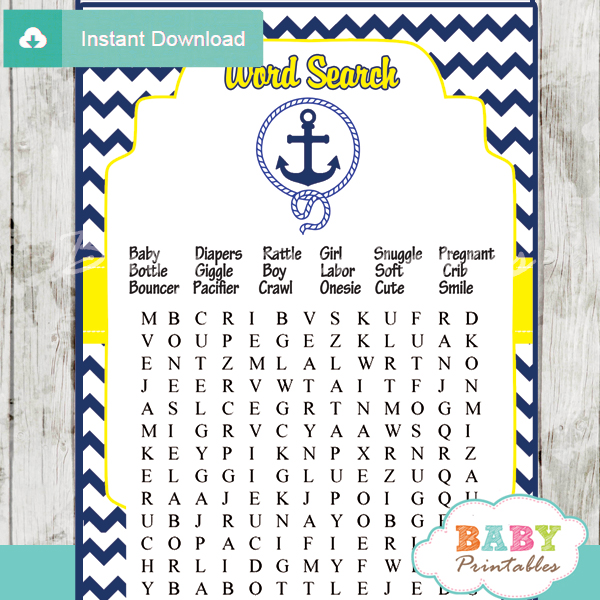 photo relating to Free Printable Nautical Baby Shower Games known as Armed service Yellow Nautical Anchor Kid Shower Online games - D197