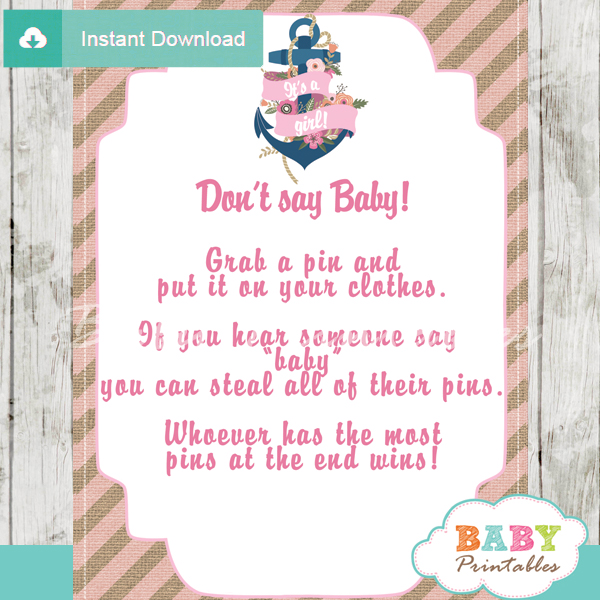 floral nautical anchor printable game Dont Say Baby pdf