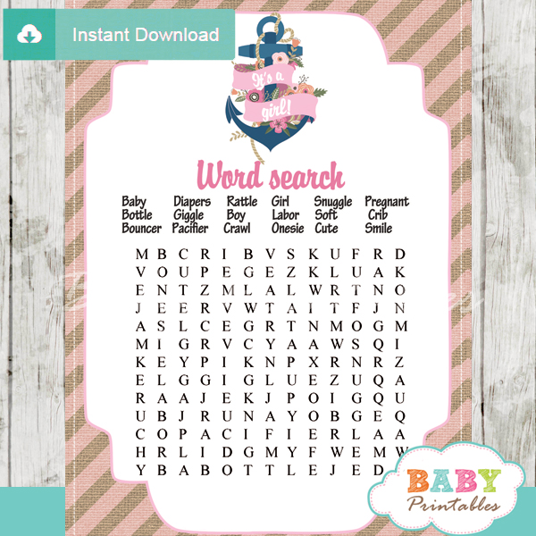 nautical floral anchor baby shower word search game printable puzzles