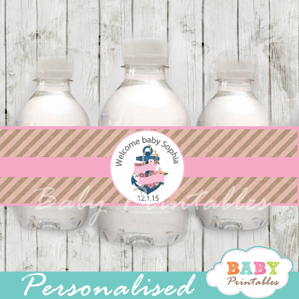 blue and pink floral anchor personalized nautical baby shower bottle wrappers diy
