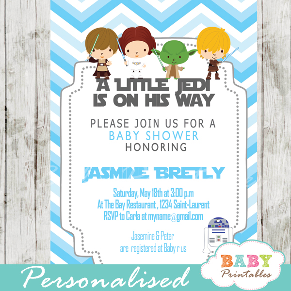 Blue Chevron Star Wars Baby Shower Invitation D205