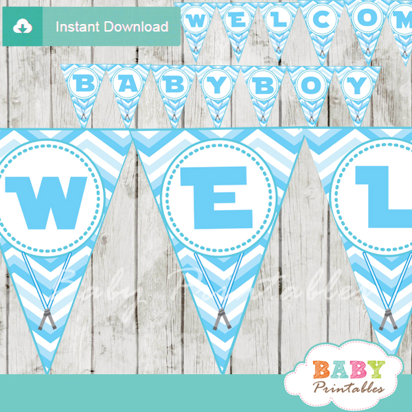 Baby Shower Custom Banners: Blue Chevron Star Wars Baby Shower Banner