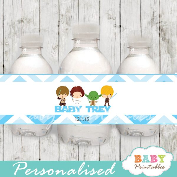 picture about Printable Bottle Labels identified as Blue Chevron Star Wars Youngster Shower Bottle Labels - D205