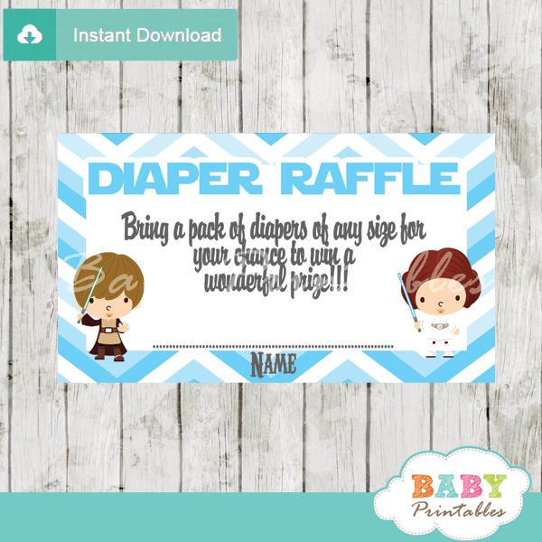 image about Diaper Raffle Printable named Blue Chevron Star Wars Diaper Raffle Tickets - D205