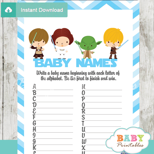Printable Star Wars Name Race Baby Shower Cards