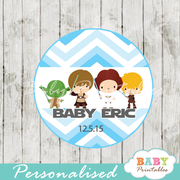 Blue Chevron Star Wars Baby Shower Favor Tags - D205 ...