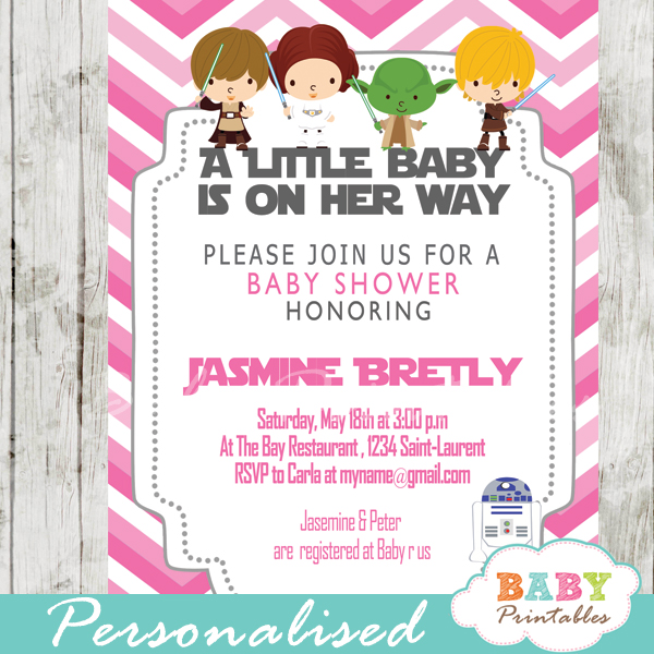 pink chevron printable star wars baby shower girl invitation personalized