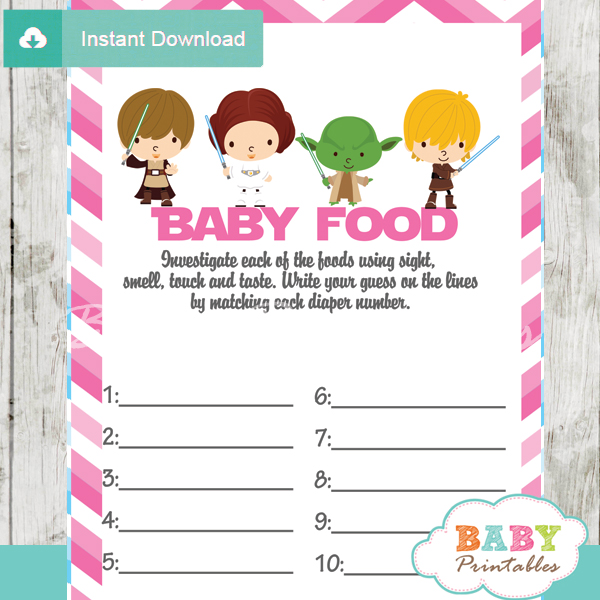 printable star wars baby shower games blind tasting baby food