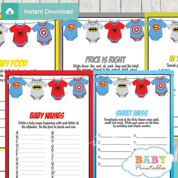 printable superhero baby shower games package