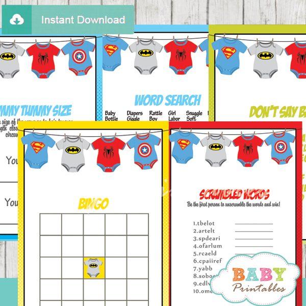 printable superhero onesie baby shower fun games ideas