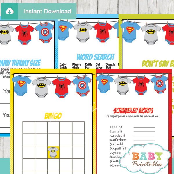 printable superhero onesie baby shower fun games ideas