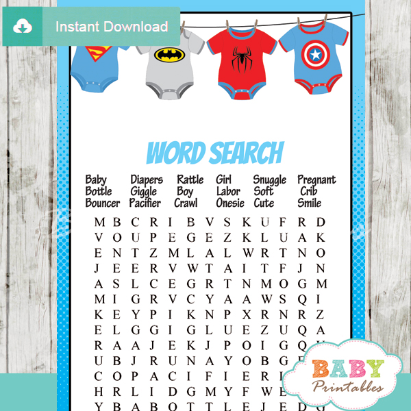 Superhero Onesie Baby Shower Games – D210
