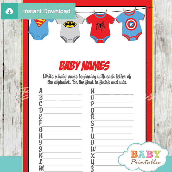 Superhero Onesie Baby Shower Games D210 Baby Printables