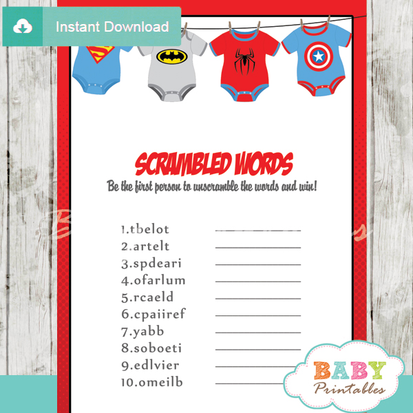 Superhero Onesie Baby Shower Games - D210 - Baby Printables