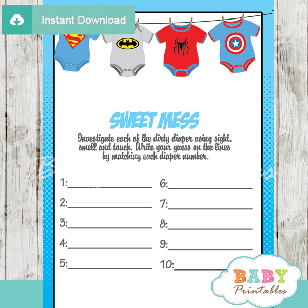 Superhero Onesie Baby Shower Games D210