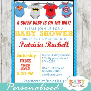 printable superhero onesie baby shower invitation personalized