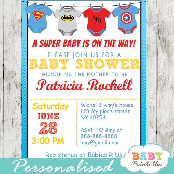 Superhero Onesie Baby Shower Invitation
