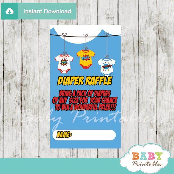 printable superhero bodysuit diaper raffle game cards baby shower