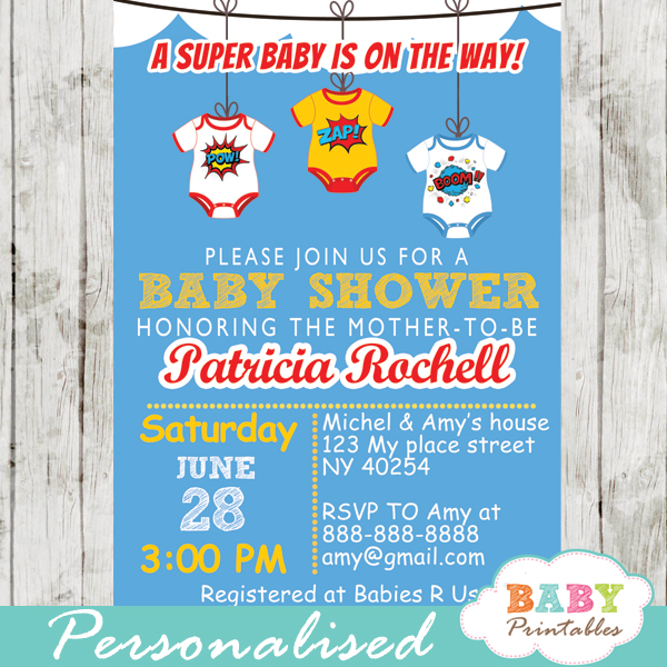 printable superhero bodysuits baby shower invitation personalized