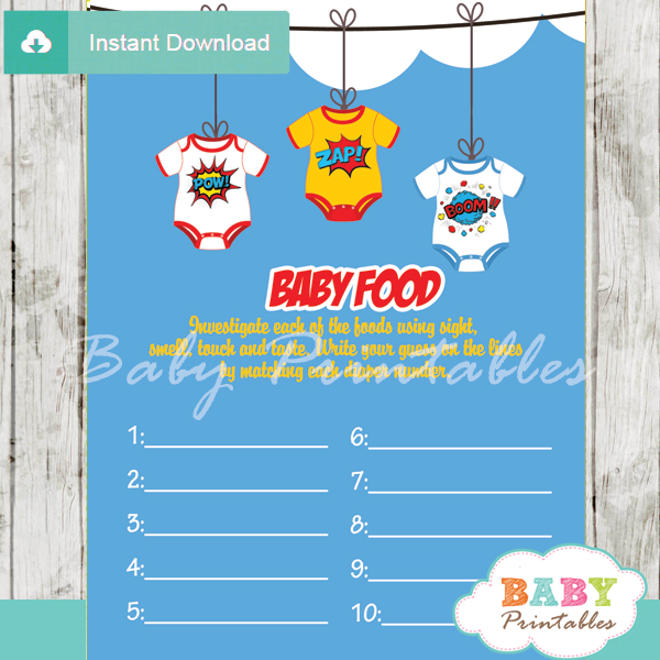 printable superhero baby shower games blind tasting baby food