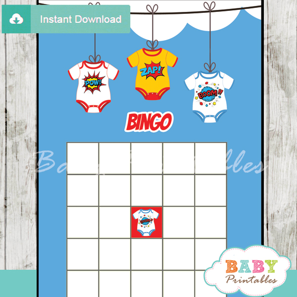 superhero printable baby shower bingo games cards
