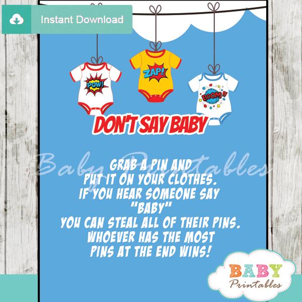 superhero printable game Dont Say Baby pdf