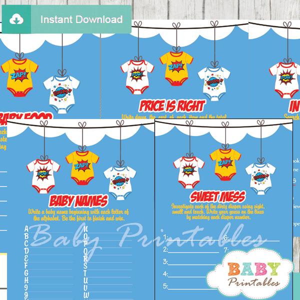 printable superhero bodysuit baby shower games package