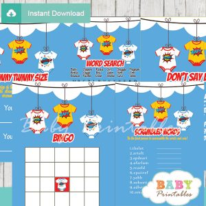 printable superhero bodysuit baby shower fun games ideas