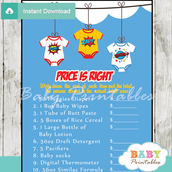 Comic superhero bodysuits baby shower games d211 baby for Free printable price is right baby shower game template