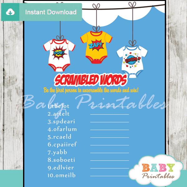 superhero printable baby shower unscramble words game