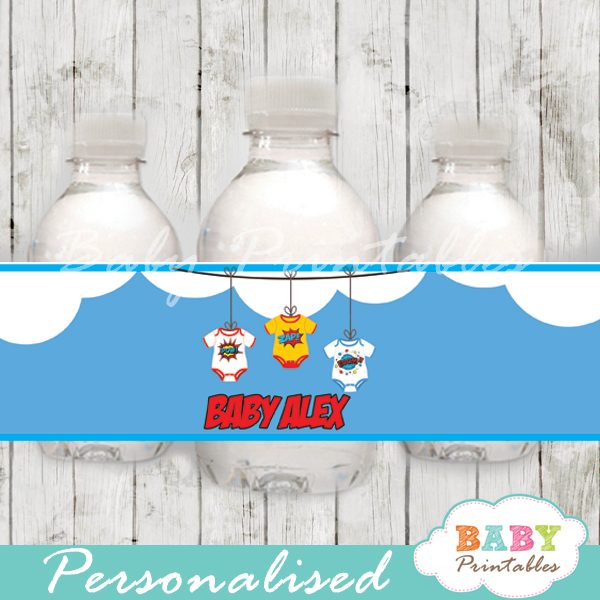 printable superhero personalized bottle wrappers diy