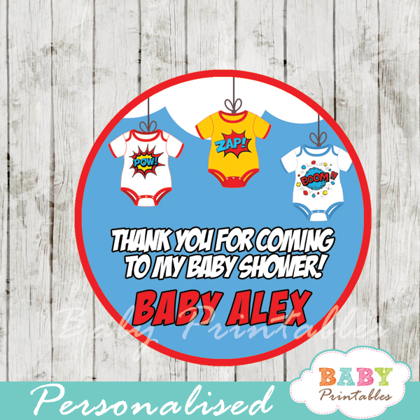 printable superhero personalized favor tags toppers
